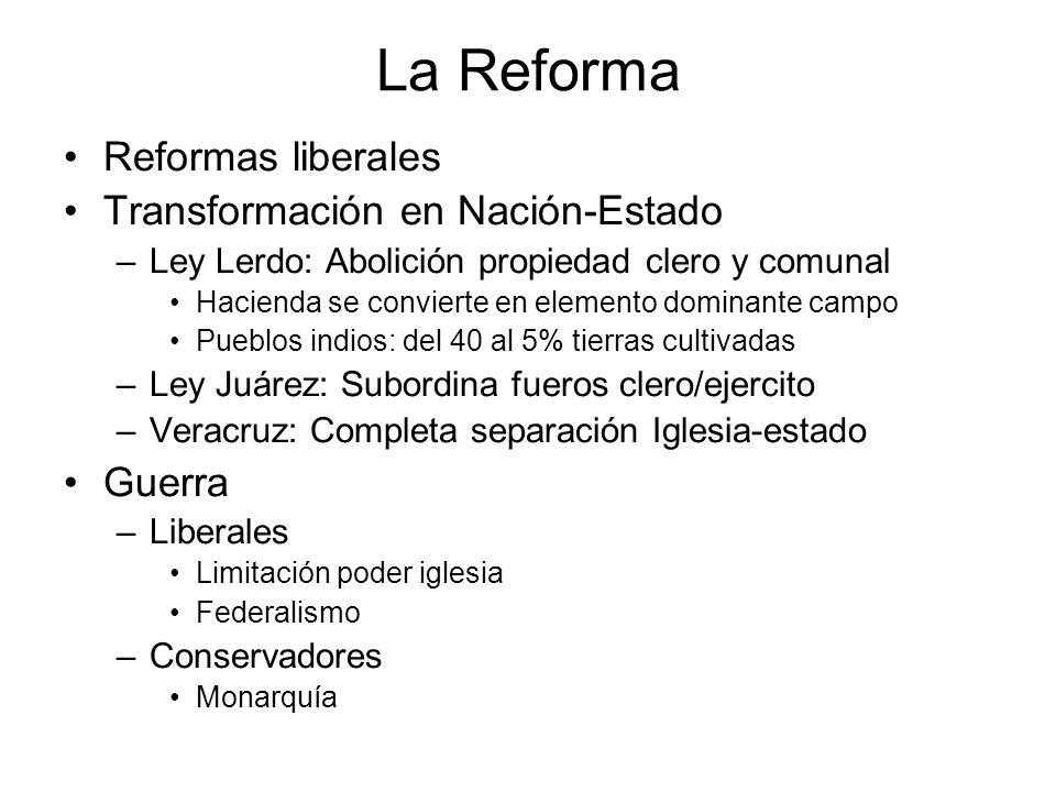 La Reforma Reformas liberales Transformación en Nación-Estado Guerra
