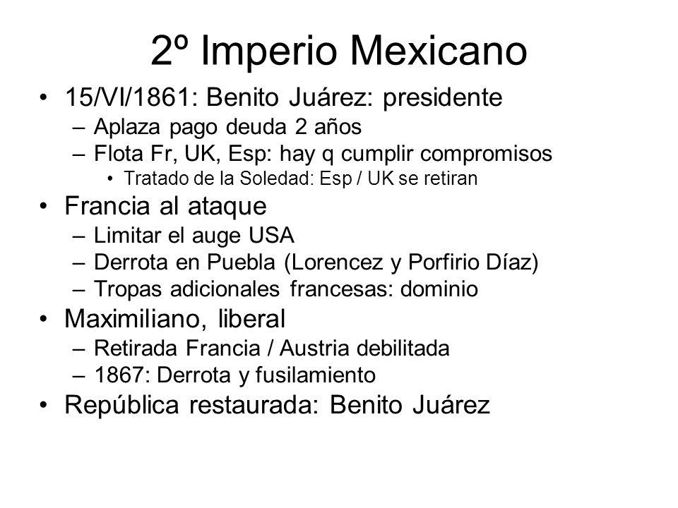 2º Imperio Mexicano 15/VI/1861: Benito Juárez: presidente
