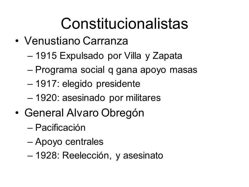 Constitucionalistas Venustiano Carranza General Alvaro Obregón