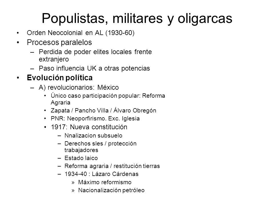 Populistas, militares y oligarcas