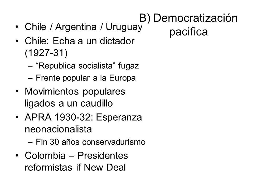 B) Democratización pacifica