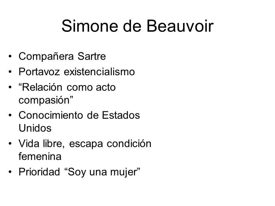 Simone de Beauvoir Compañera Sartre Portavoz existencialismo