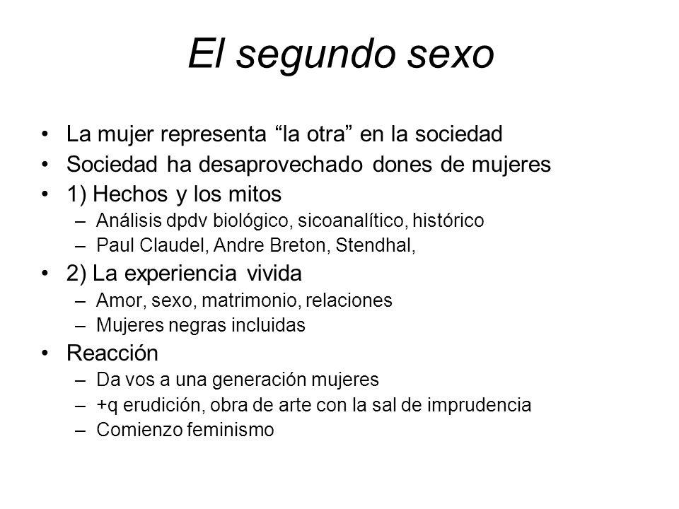 El segundo sexo La mujer representa la otra en la sociedad