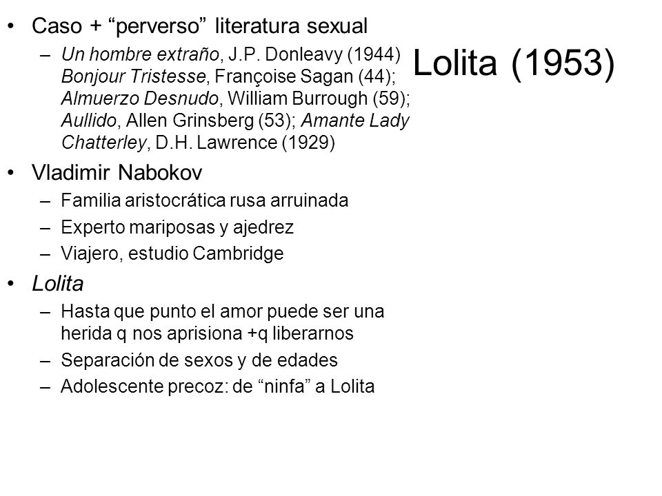 Lolita (1953) Caso + perverso literatura sexual Vladimir Nabokov