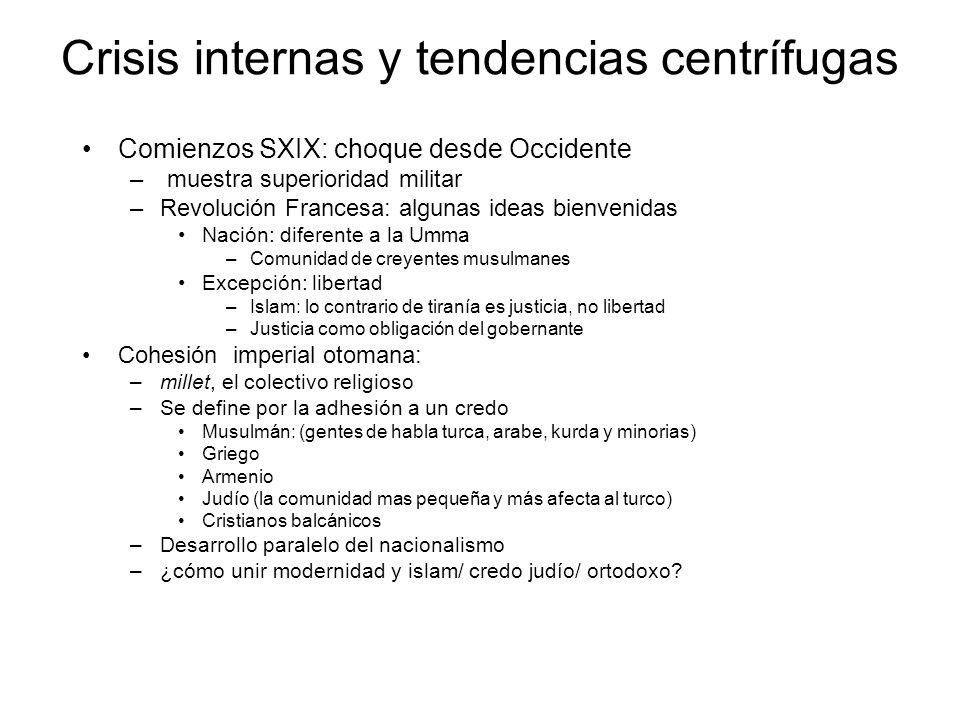 Crisis internas y tendencias centrífugas