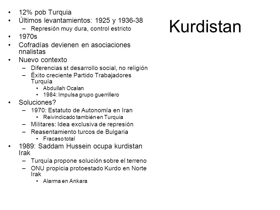 Kurdistan 12% pob Turquia Últimos levantamientos: 1925 y 1936-38 1970s