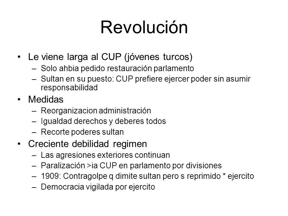 Revolución Le viene larga al CUP (jóvenes turcos) Medidas
