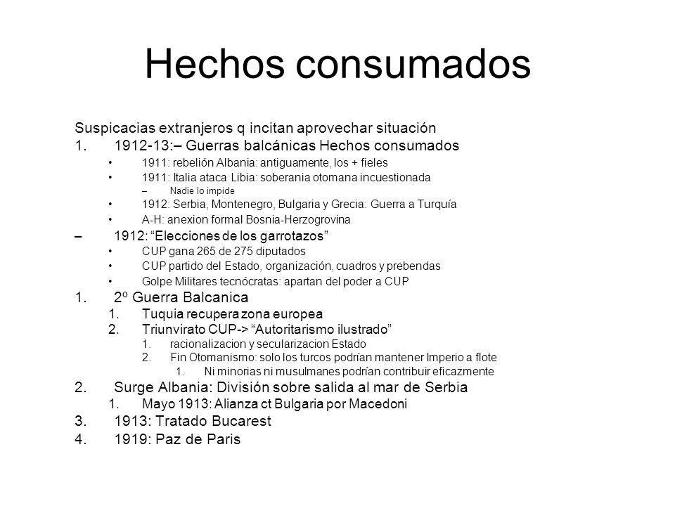 Hechos consumados Suspicacias extranjeros q incitan aprovechar situación. 1912-13:– Guerras balcánicas Hechos consumados.