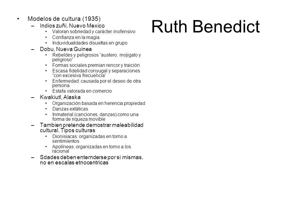 Ruth Benedict Modelos de cultura (1935) Indios zuñi, Nuevo Mexico