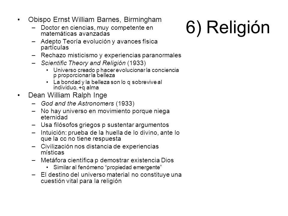 6) Religión Obispo Ernst William Barnes, Birmingham