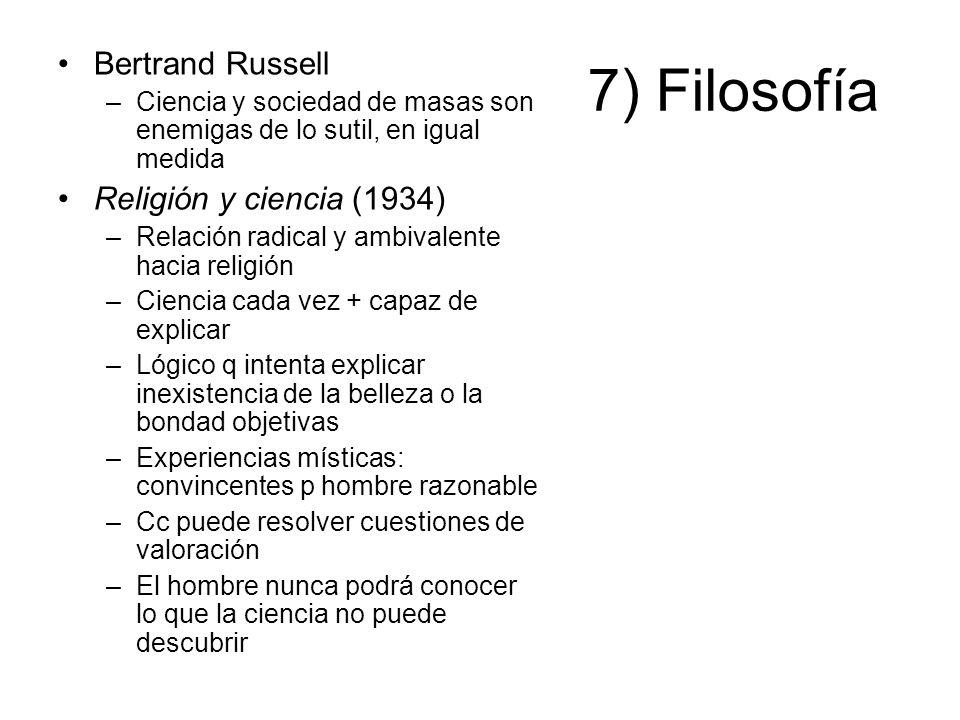 7) Filosofía Bertrand Russell Religión y ciencia (1934)