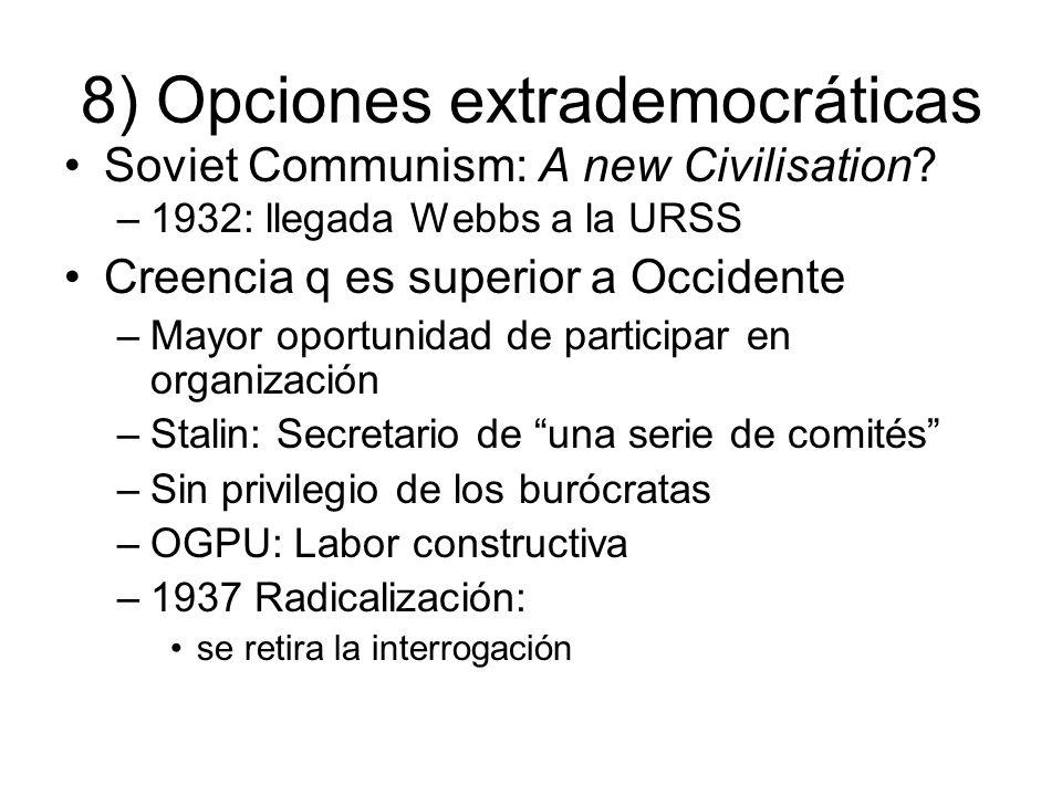 8) Opciones extrademocráticas