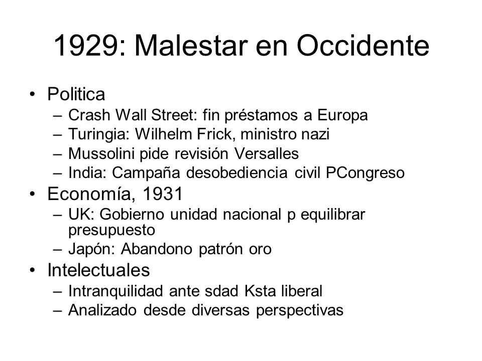 1929: Malestar en Occidente