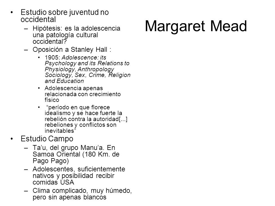 Margaret Mead Estudio sobre juventud no occidental Estudio Campo