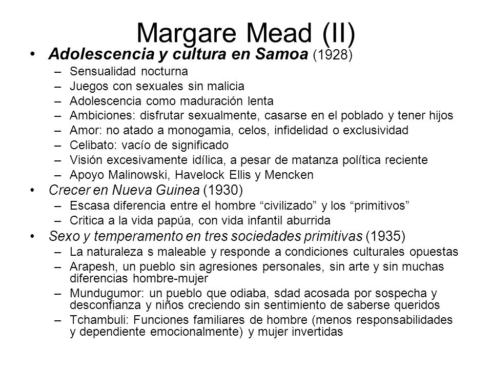 Margare Mead (II) Adolescencia y cultura en Samoa (1928)