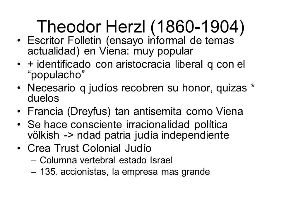 Theodor Herzl (1860-1904) Escritor Folletin (ensayo informal de temas actualidad) en Viena: muy popular.