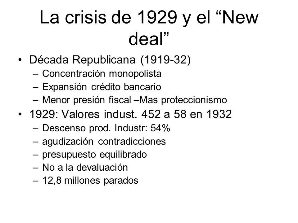 La crisis de 1929 y el New deal