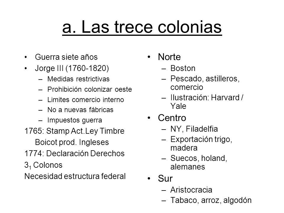 a. Las trece colonias Norte Centro Sur Guerra siete años