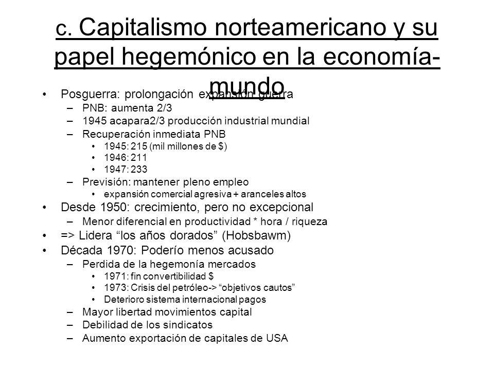 c. Capitalismo norteamericano y su papel hegemónico en la economía-mundo