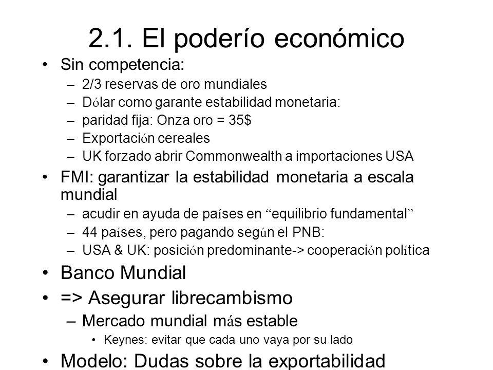 2.1. El poderío económico Banco Mundial => Asegurar librecambismo