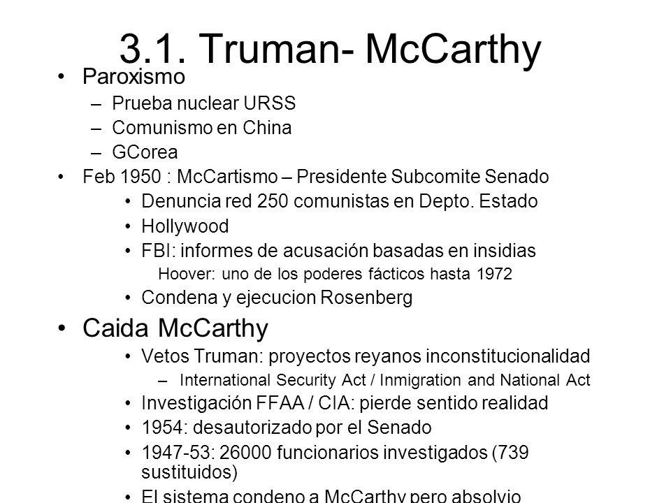 3.1. Truman- McCarthy Caida McCarthy Paroxismo Prueba nuclear URSS