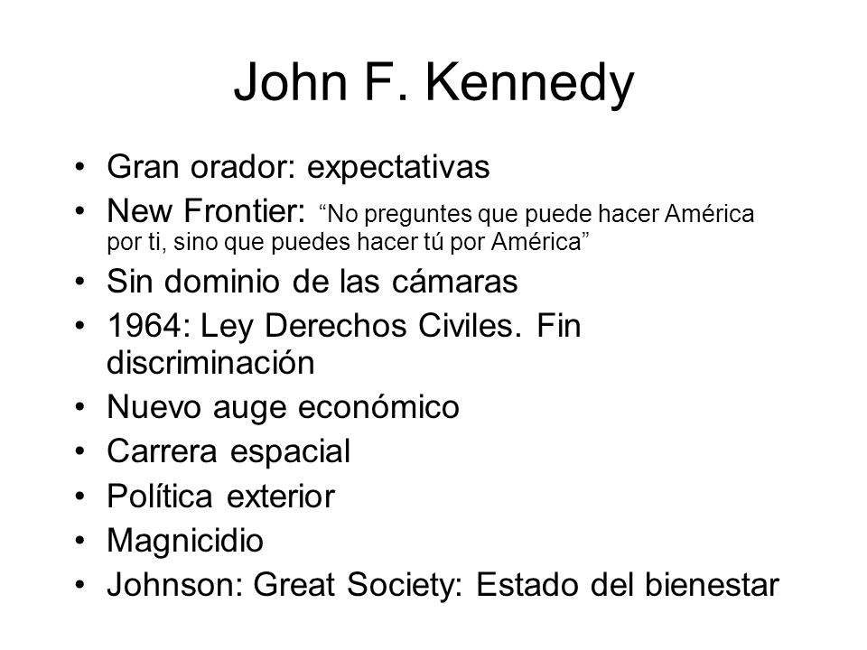 John F. Kennedy Gran orador: expectativas