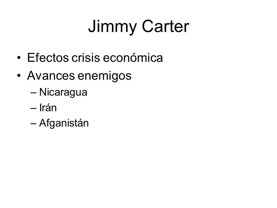 Jimmy Carter Efectos crisis económica Avances enemigos Nicaragua Irán