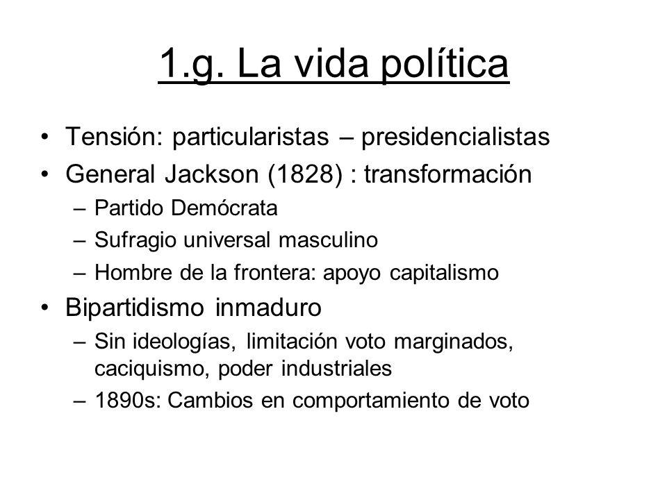 1.g. La vida política Tensión: particularistas – presidencialistas
