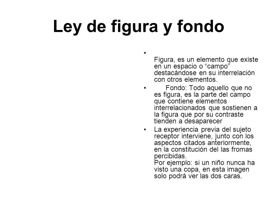 Ley de figura y fondo Figura, es un elemento que existe en un espacio o campo destacándose en su interrelación con otros elementos.