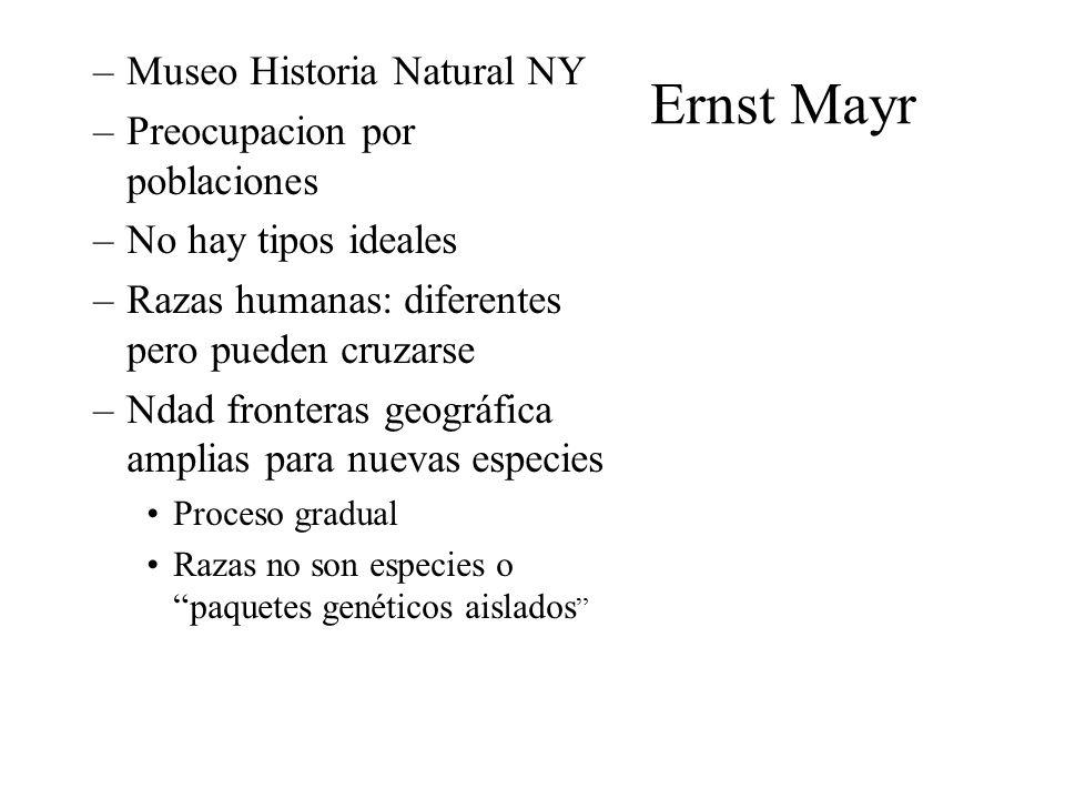 Ernst Mayr Museo Historia Natural NY Preocupacion por poblaciones