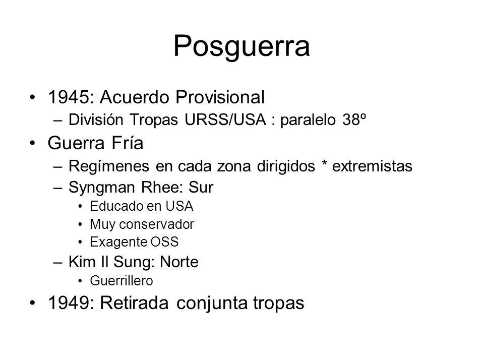 Posguerra 1945: Acuerdo Provisional Guerra Fría