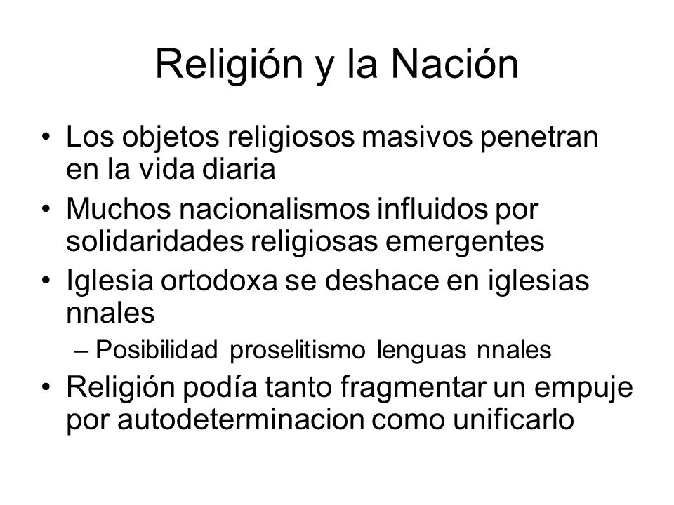 Religión y la Nación Los objetos religiosos masivos penetran en la vida diaria.