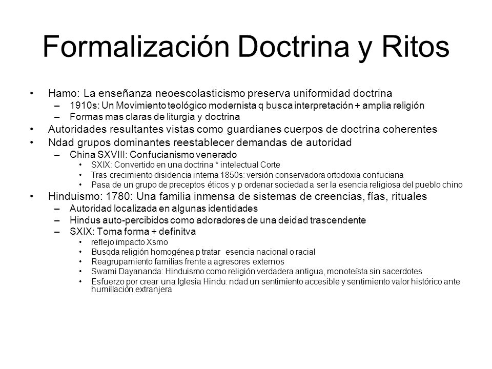 Formalización Doctrina y Ritos