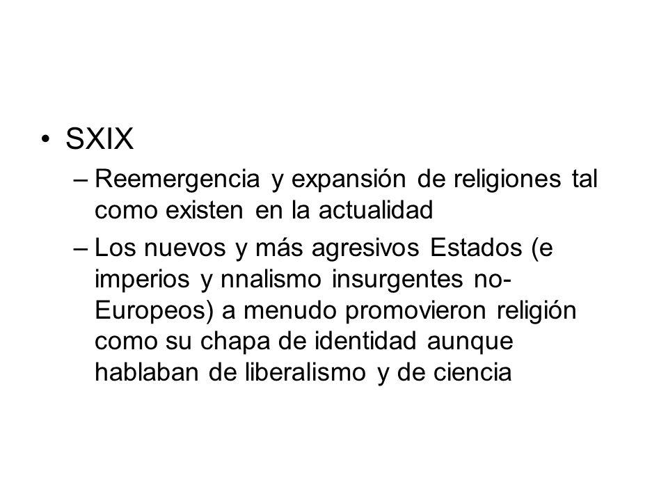 SXIX Reemergencia y expansión de religiones tal como existen en la actualidad.