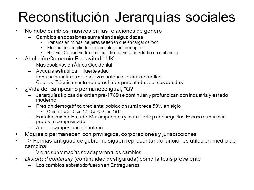 Reconstitución Jerarquías sociales