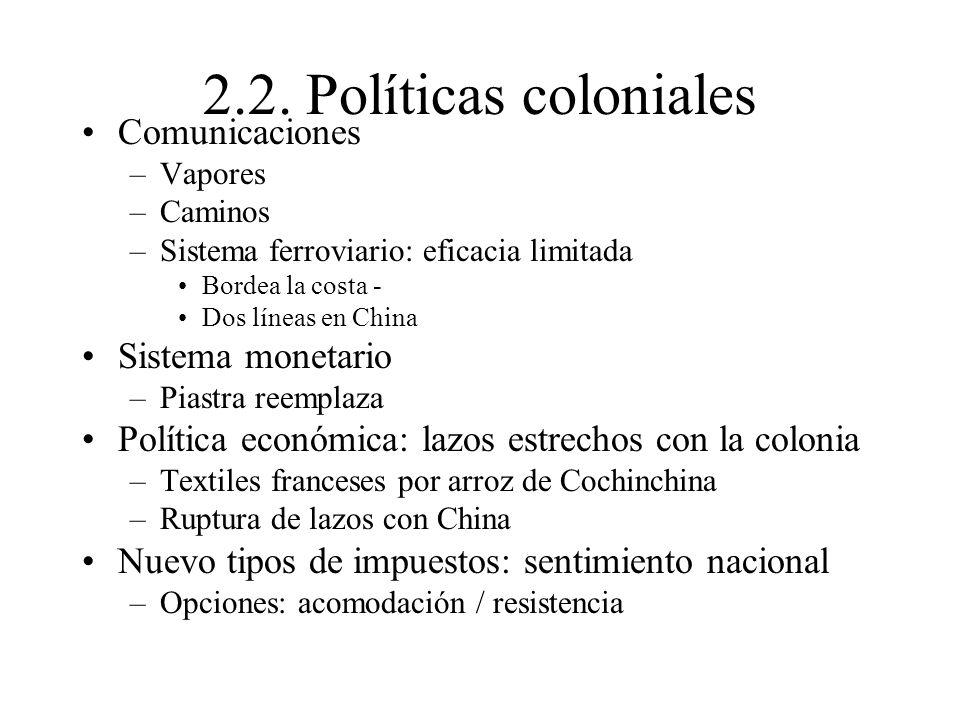 2.2. Políticas coloniales Comunicaciones Sistema monetario