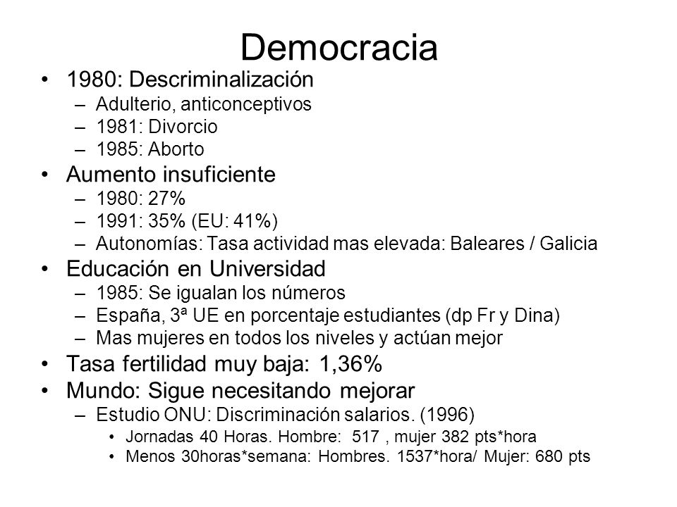 Democracia 1980: Descriminalización Aumento insuficiente