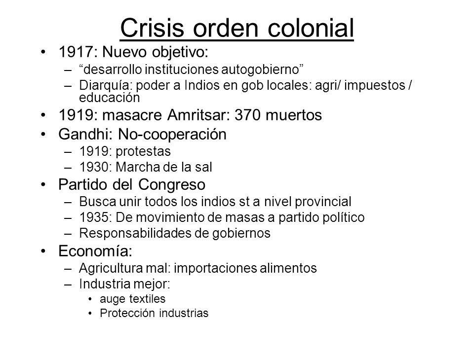 Crisis orden colonial 1917: Nuevo objetivo: