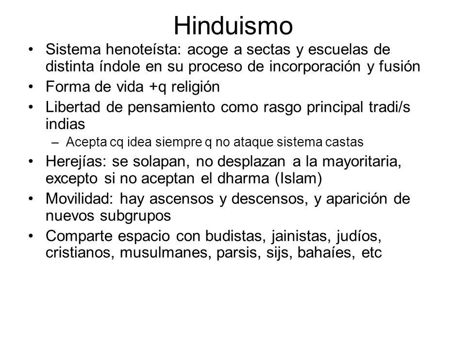 Hinduismo Sistema henoteísta: acoge a sectas y escuelas de distinta índole en su proceso de incorporación y fusión.