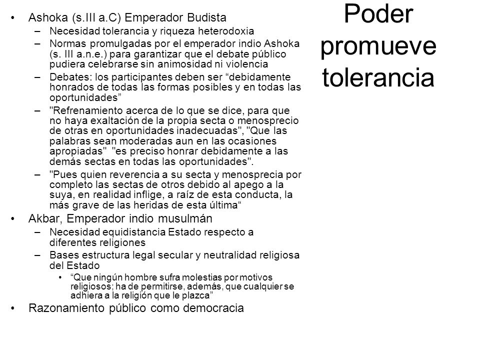 Poder promueve tolerancia