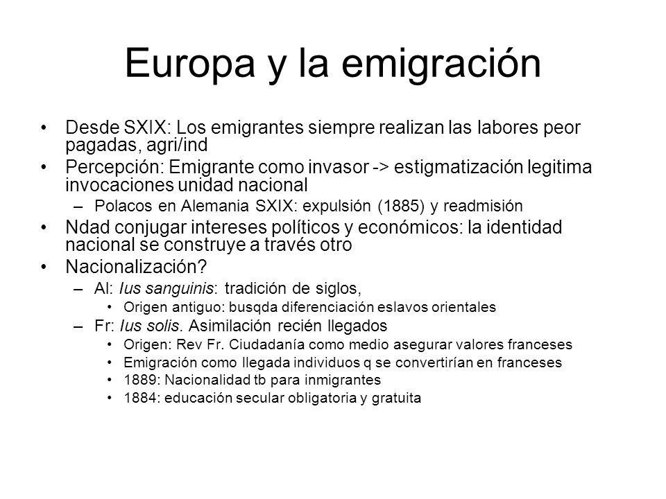 Europa y la emigración Desde SXIX: Los emigrantes siempre realizan las labores peor pagadas, agri/ind.
