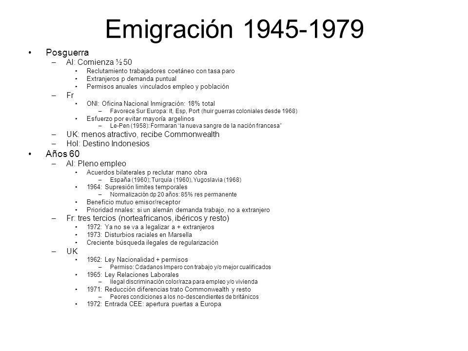 Emigración 1945-1979 Posguerra Años 60 Al: Comienza ½ 50 Fr
