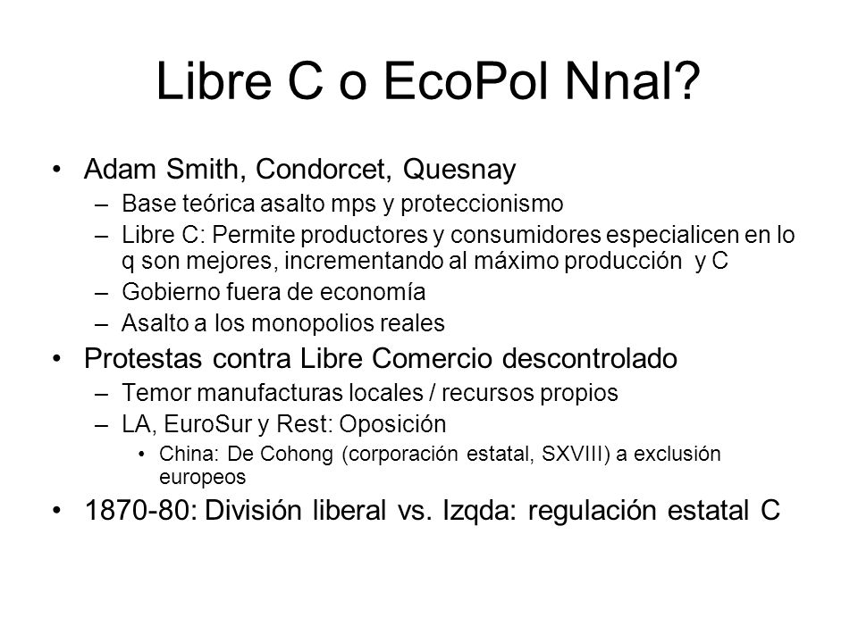 Libre C o EcoPol Nnal Adam Smith, Condorcet, Quesnay
