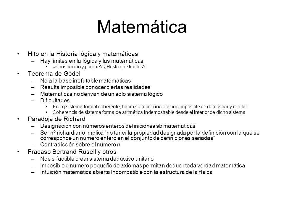 Matemática Hito en la Historia lógica y matemáticas Teorema de Gödel