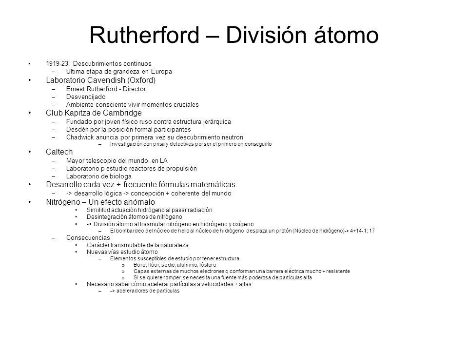 Rutherford – División átomo
