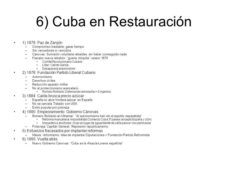 6) Cuba en Restauración 1) 1878: Paz de Zanjón