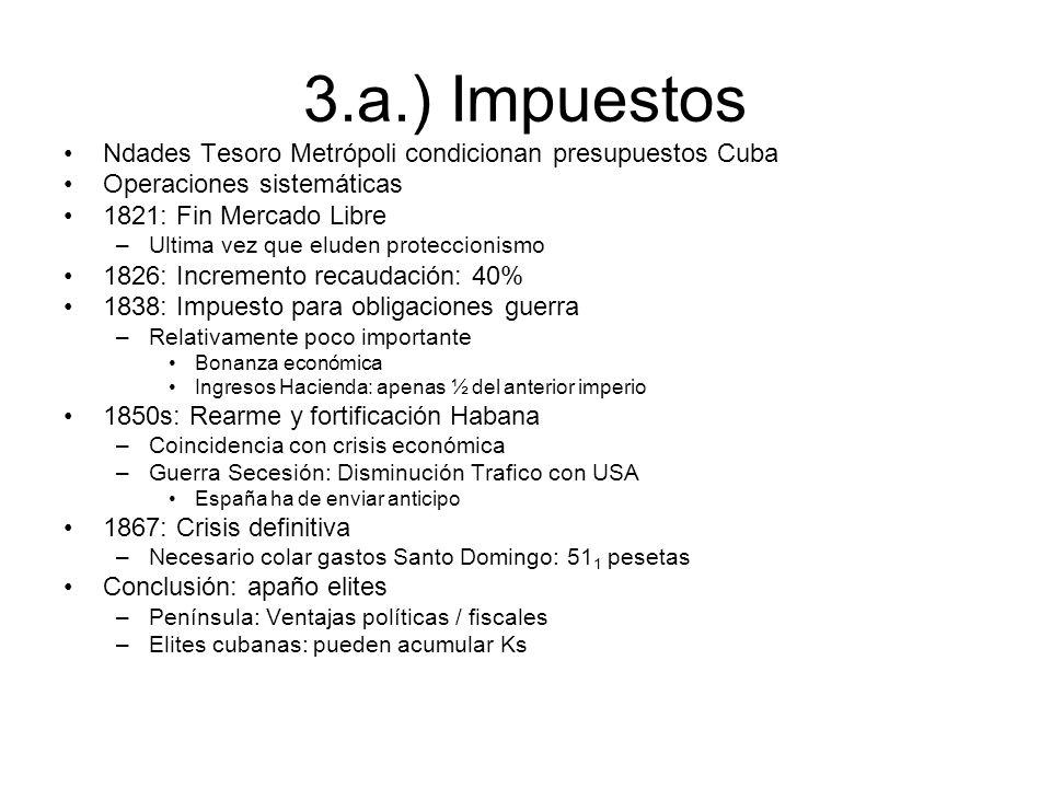 3.a.) Impuestos Ndades Tesoro Metrópoli condicionan presupuestos Cuba
