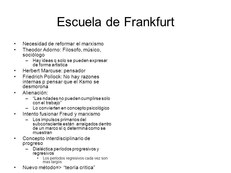 Escuela de Frankfurt Necesidad de reformar el marxismo