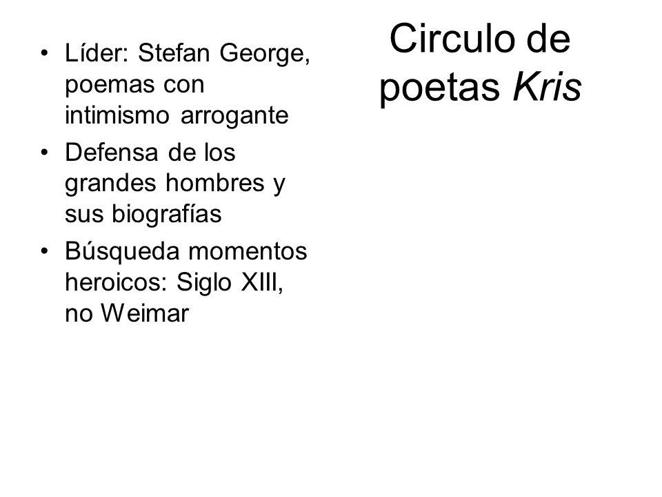 Circulo de poetas Kris Líder: Stefan George, poemas con intimismo arrogante. Defensa de los grandes hombres y sus biografías.