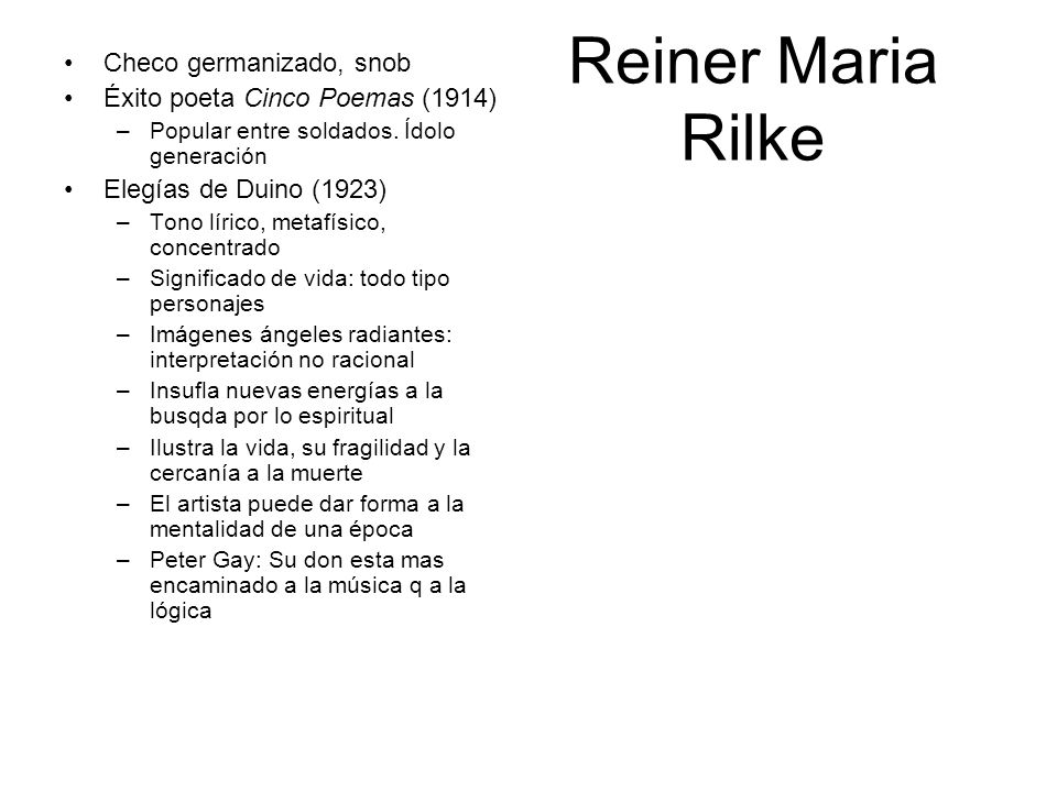 Reiner Maria Rilke Checo germanizado, snob